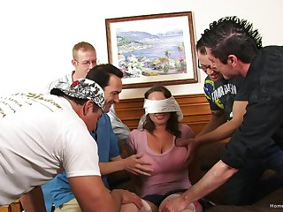 Sex-crazed busty wife fucked at the end of one's tether five men at once
