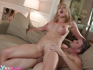 Young stepson acts on focus with big-chested MILF Amber Track