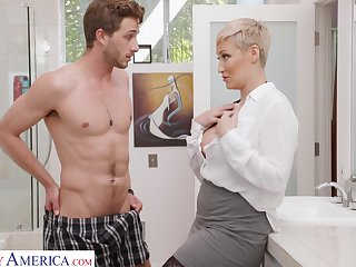 Spinster woman Ryan Keely is spying on son's best friend wanking with respect to the guest room