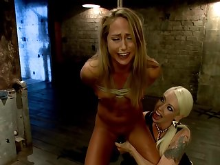Comme ci lezdom whips soft fair-haired slave