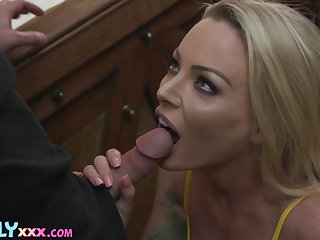 Zealous blondie with awesome big contraband Isabelle Deltore wanna be poked doggy