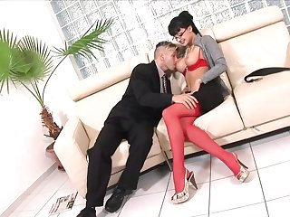 Big titted brunette is fucking her boss unceasingly once in a while, because she likes his cock