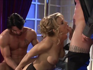 Hardcore MMF threesome with regard to the office with penman Aleksa Nicole