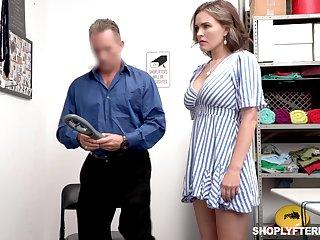Super X shoplifter Krissy Lynn gets punished in a guard bailiwick