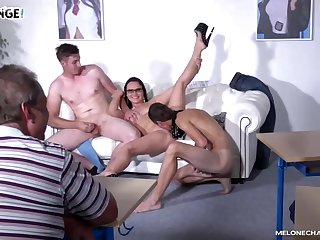 Seductive brunette, Wendy Acolyte is about to have sex progress many excited guys