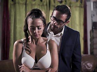 MMF threesome on the go into hiding bed concerning big tits pornstar Abigail Mac