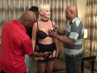 Interracial gangbang be required of robot GILF with a double penetration