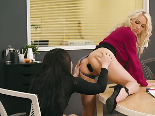 Two lesbian colleagues try anal sex opportunities almost sight almost along to office